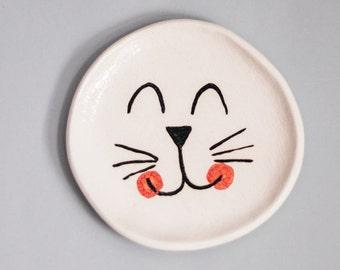 Handmade cat white ceramic ring dish, ring holder, pottery ring dish, ceramic ring holder, unique ceramic gift, catlovers ring dish.