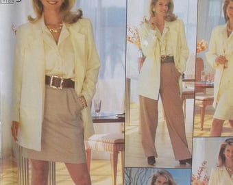 Plus Size Career Wardrobe,  Simplicity 9861 Sewing Pattern Pleated Straight Leg Pants  and Skirt, Long Sleeve Blouse and Jacket Size 18 - 26