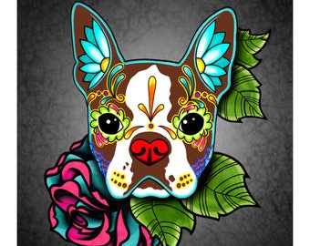 "SALE Regularly 14.95 - Boston Terrier in Red - Day of the Dead Sugar Skull Dog 8"" x 10"" Art Print"