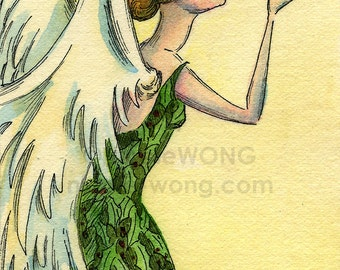 Original ACEO Watercolor Painting and Ink Drawing Artwork -- Christmas Angel