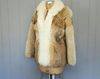 AMAZING Coyote Fur Long Coat with white fox collar / Small