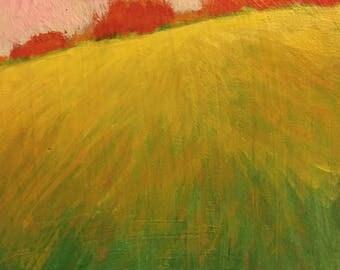 """Little Landscape with Pink Sky - Original Acrylic Oil Encaustic Landscape Painting -8""""x 8""""x 1"""""""