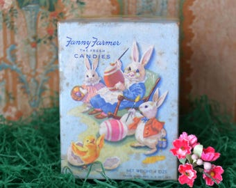 Vintage Fanny Farmer Easter Candy Box with Rabbits and Chicks