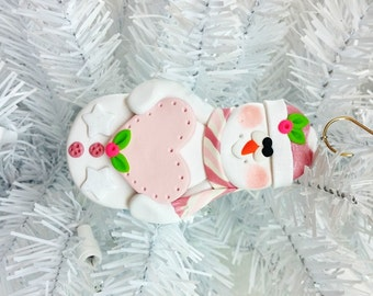 Baby Girl First Christmas / Handmade Keepsake Polymer Clay Snowman Ornament /  Handmade Christmas Ornament / Pink Christmas Decor - 1277