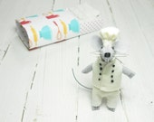 Stocking stuffers chef hat cooking gifts small felt animals doll stuffed animal plushie plush rag doll gift for kids best gift white