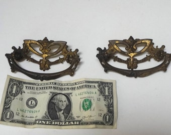 Vintage Pair Brass Drawer Handles Pulls Edwardian Or Victorian Style Distressed Patina Heavy Aging Salvage Functional No Screws
