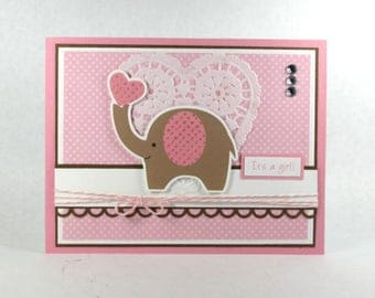 Baby girl card, new baby cards, it's a girl, baby cards, elephant, pink, congratulations, baby cards, welcome baby girl, personalized card