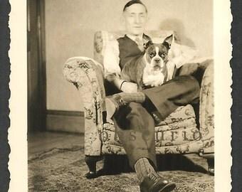 Boston Terrier Dog & Man - 1930s Snapshot Photograph