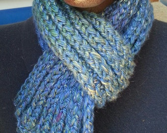 Blue Green Purple Cream Lake Tahoe Blue Double Knit Scarf - OOAK by an EtsyMom