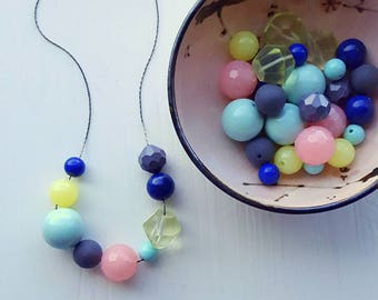soda counter necklace - vintage lucite - pastels - chunky necklace - navy blue