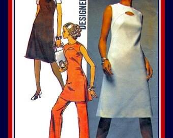 Vintage 1971-MOD KEYHOLE DRESS-Designer Sewing Pattern-Tunic-Mini Dress-Pants-Contrasting Yoke-A-Line Cut-Side Slits-Size 18-Rare