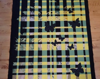 Harmony Quilt Top, To be Quilted, Butterflies, Green, Yellow, Black, Handmade, Wall Hanging, Decor, Fabric Art