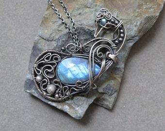 Small Bird - Labradorite and Sterling Silver Pendant
