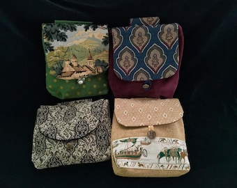 Belt pouch, tapestry, large bag, pocket book. For Ren fair, SCA, LARP, festival, burning man. Viking, renaissance, velvet, castle, Bayeux