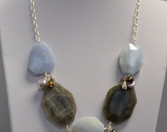 Labradorite and Blue Lace Agate Sterling Silver Necklace