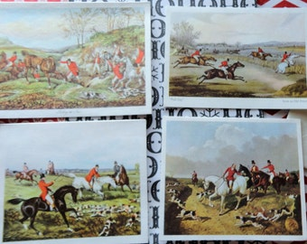 Tally Ho or Fox Hunting Master Artistic Images in Marian Heath Vintage UNUSED Christmas Cards Lot of 8 Christmas Lot No 1007