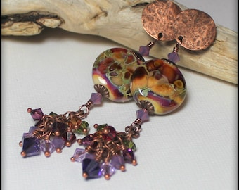 Handmade Jewelry, Handmade Earrings, Earrings, Beaded, Lampwork, Antique Copper, Crystal, Wine, Purple, Lavender, Sage Green, Artisan, Boho