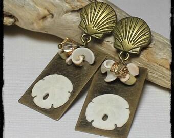 Handmade, Jewelry, Earrings, Beaded, Crystal, Antique Brass, Cream, Sand, Peach, Artisan, Beach, Seashell, Shell, Sand Dollar, Ocean, Posts