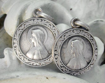 Antique holy medal lot, two identical Holly Medals, Antique silver holy medal lot, Antique Art Nouveau medals, Holy Mary silver medal lot