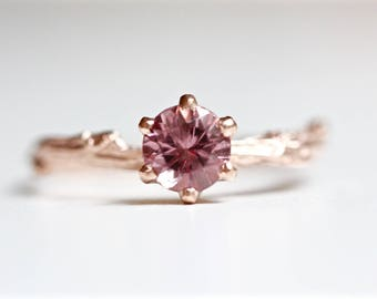 Lotus Garnet Solitaire Ring in Recycled 14k Gold - Round Faceted Prong Set Blush Pink Gemstone - Engagement Ring - Diamond Alternative