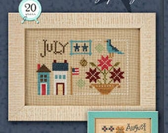 Lizzie Kate Yearbook Double Flip Series - July August F161 Counted Cross Stitch Pattern with Charms