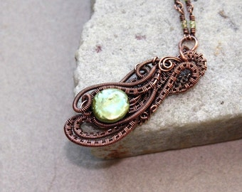 Antique Copper Green Pearl Wire Wrapped Necklace, Contemporary, Wire Jewelry, Gift For Her, Canada, Statement Necklace, Wire Wrap Pendant