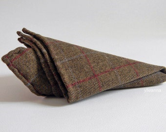 Pure wool pocket square. Windowpane handkerchief. Made in Italy. Hand rolled edge. Men accessories. Brown, burgundy.