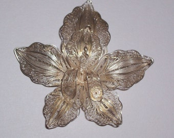 Antique Sterling Silver Orchid Brooch or Pin