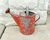vintage watering can, galvanized, chippy red paint, home decor, gardening, metal watering can, rustic