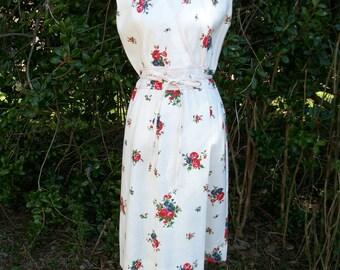 70s Linen Dress size Medium Floral Dress My Latest Leslie Fay Faux Wrap Dress