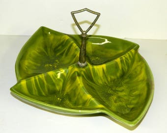 CALIFORNIA STYLE Divided Bowl Cal. Style 216 Mid Century Modern Green Jade Leaf Drip Ceramic Vintage Pottery CrabbyCats, Crabby Cats