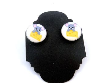 "Mouse with Cheese  Earrings.  Post or Stud Earrings.  SMALL and Lightweight 5/8"" or 16 mm Round."