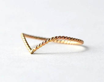 Twisted Chevron Ring: Yellow Gold Filled, Nautical