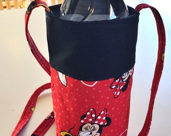 Minnie Mouse Hearts Dots Red White Black - Water Bottle Cozy, Pop Holder, Sling, Drink Cozie