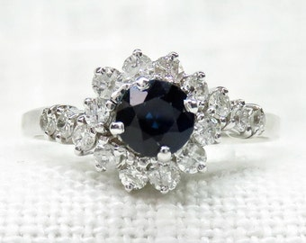 Vintage 14k Gold Blue Sapphire and Diamond Halo Engagement Ring 1.45 Carats