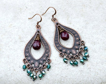 Bohemian Chandelier Earrings, Ruby Gemstone, Teal, Antique Copper,