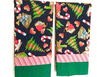 Pair Christmas Pillowcases Whimsical Mice Candy Canes