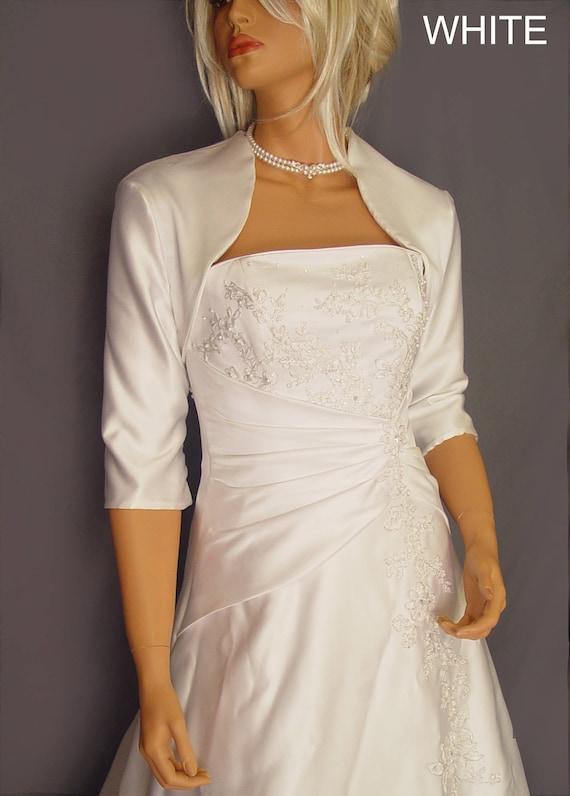 Satin bridal bolero jacket wedding shrug coat 3 4 sleeve cover for White bolero for wedding dress