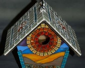 Birdhouse Stained Glass Mosaic Sunset on the Beach