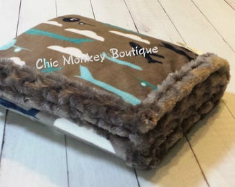 Planes Minky Blanket with Charcoal Minky Swirl Backing and Edging...Last Minute Gift Idea..