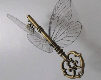 Custom version of 'magical' flying key with large butterfly wings in antique brass - CABOLBF
