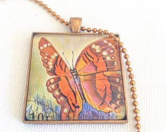 butterfly pendant, postage stamp necklace, autumn tones, unisex necklace, 1973