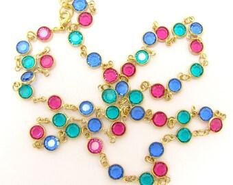 Vintage Swarovski Bezel Set Crystal Necklace Gold Tone Pink Blue Teal Ex