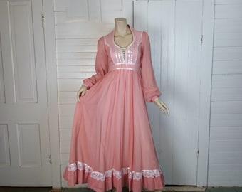 Gunne Sax Dress in Coral Pink- 70s Prairie / Renaissance Empire Maxi Dress- 1970s