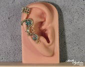 Custom order for wolf9788 ELECTRIC STEAMPUNK ear cuff no piercing ear cuff, steampunk jewelry, ear wrap, gear ear cuffcrystal steampunk