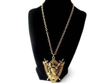 Striking Royal Unmarked Decorative Gold Tone Metal 3D 3 Dimensional Vintage Shield / Coat of Arms Knight & Cross Axes Pendant Necklace