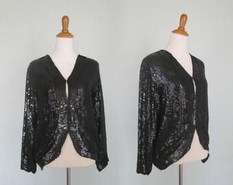 Chic 80s Black Sequin Evening Jacket Jean for Joseph Le Bon - Vintage Sequinned Silk Top - Vintage 1980s Beaded Jacket S M