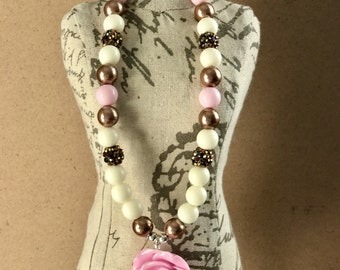 Pink flower Brown bronze rhinestones 12 mm bubble gum necklace silver plated kids girls Jewelry