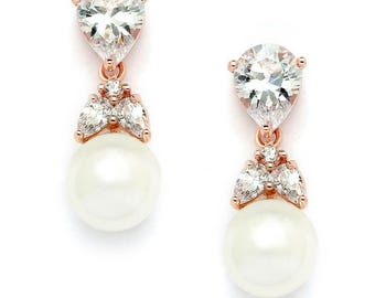 Top-Selling Gold CZ Bridal Earrings with Pears and Pearl Drops Top Bridesmaid Jewelry  Earrings Wedding Earrings, prom earring