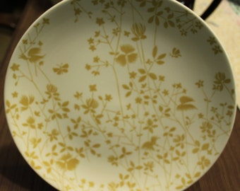 Golden Meadow Ironstone Dinner Plates / Yellow Floral on White Background by Sheffield